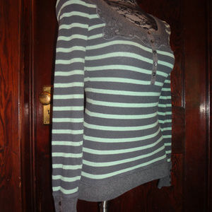 Free People striped lace scoop neck sweater XS